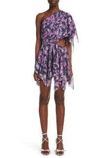 Isabel Marant Noliaze Metallic Handkerchief Hem One-Shoulder Dress