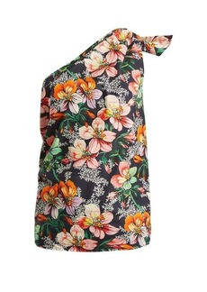 Isabel Marant Noor one-shoulder floral-print top