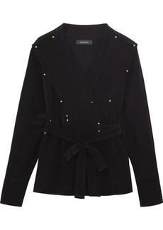 Isabel Marant Oswald wrap-effect studded silk crepe de chine blouse