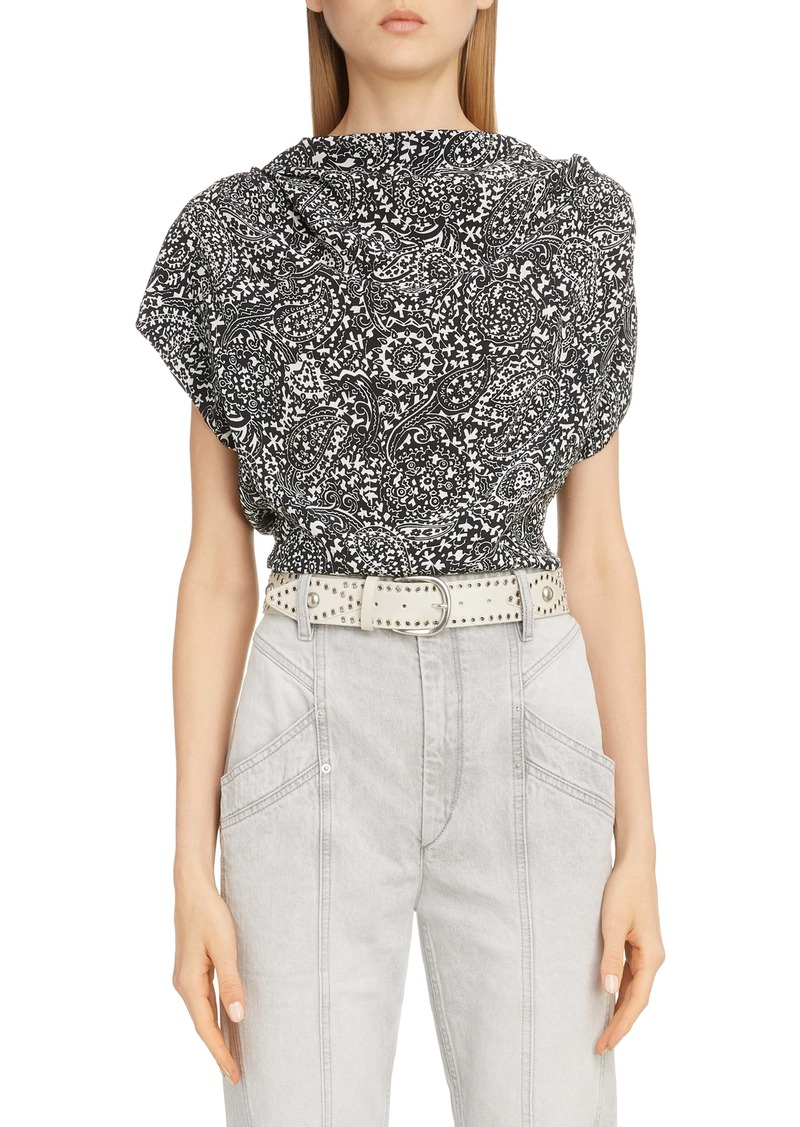 Isabel Marant Paisley Cap Sleeve Silk Top