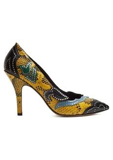 Isabel Marant Pavine studded snake-effect leather pumps
