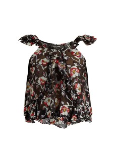 Isabel Marant Piety silk-blend floral fil coupé top