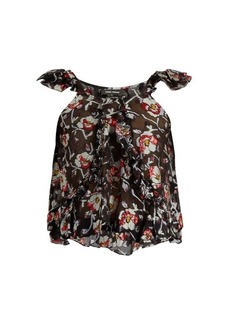 Isabel Marant Piety silk-blend floral fil coupé top