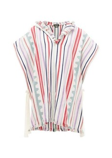 Isabel Marant Pilen striped hooded cotton-blend poncho