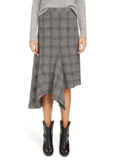 Isabel Marant Plaid Asymmetrical Cotton & Wool Blend Skirt