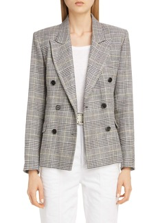 Isabel Marant Plaid Linen & Silk Blend Double Breasted Jacket