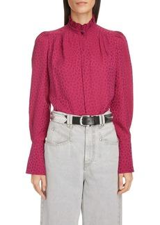 Isabel Marant Polka Dot Puff Shoulder Stretch Silk Blouse