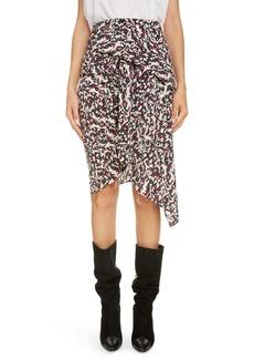 Isabel Marant Print Drape Stretch Silk Skirt