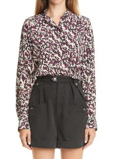Isabel Marant Print High/Low Stretch Silk Shirt