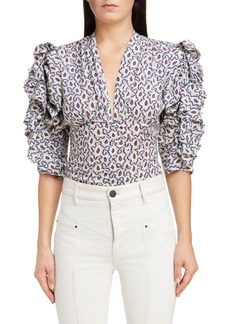 Isabel Marant Print Ruffle Sleeve Stretch Silk Top