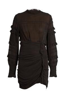 Isabel Marant Qods ruched stretch silk-blend dress