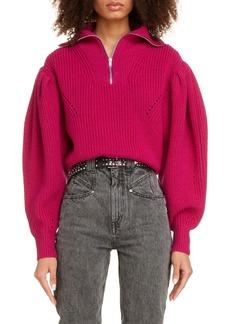 Isabel Marant Quarter Zip Puff Sleeve Wool Sweater