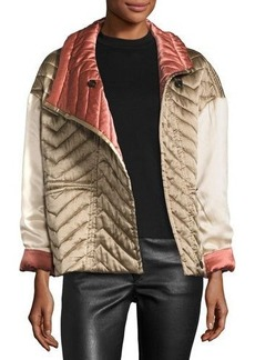 Isabel Marant Quilted Silk Bomber Jacket