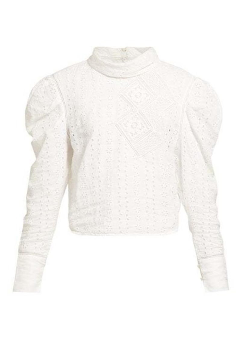 Isabel Marant Qyandi puffed-sleeve broderie-anglaise blouse