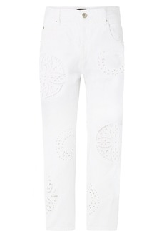Isabel Marant Ronny Broderie Anglaise-trimmed High-rise Straight-leg Jeans