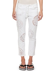 Isabel Marant Ronny Straight-Leg Broderie Anglaise Cutout Cotton Skinny Jeans
