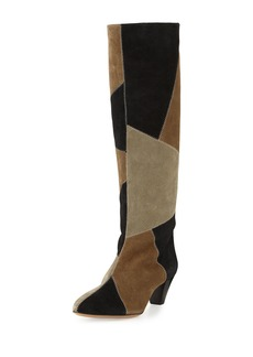Isabel Marant Ross Patchwork Suede Tall Boot