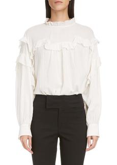 Isabel Marant Ruffle Metallic Cotton & Silk Blouse