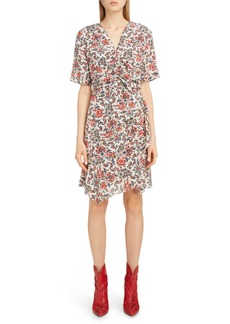 Isabel Marant Ruffle Trim Floral Stretch Silk Dress
