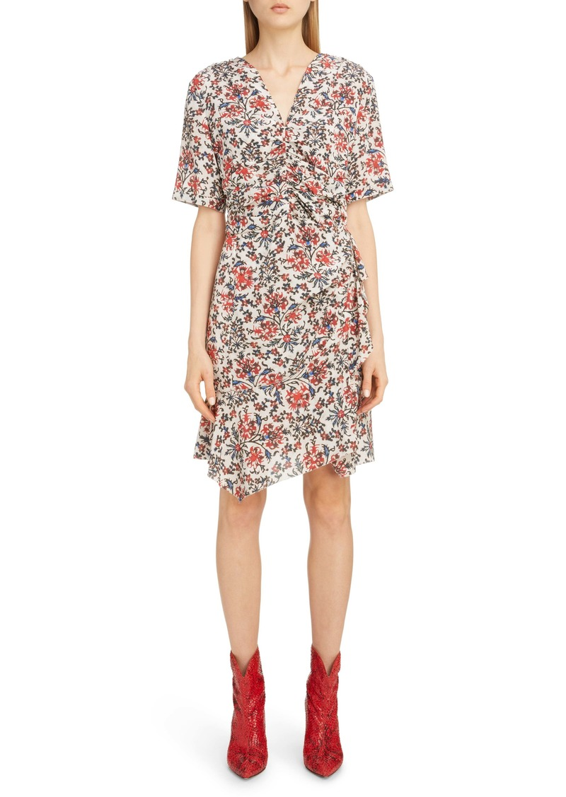 Isabel Marant Ruffle Trim Floral Stretch Silk Dress