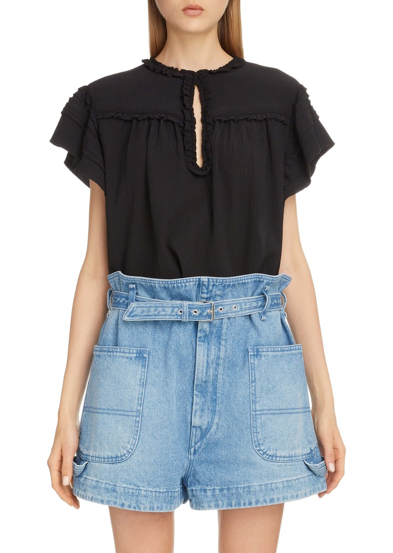 Isabel Marant Ruffle Trim Keyhole Cotton & Silk Top