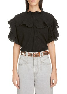 Isabel Marant Ruffle Trim Metallic Cotton & Silk Blouse