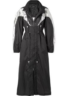 Rumber hooded two-tone metallic shell jacket