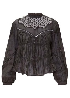 Isabel Marant Samantha lace-trimmed ramie blouse