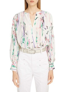 Isabel Marant Scribble Print Stretch Silk Blouse
