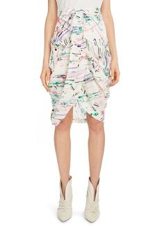 Isabel Marant Scribble Print Stretch Silk Skirt