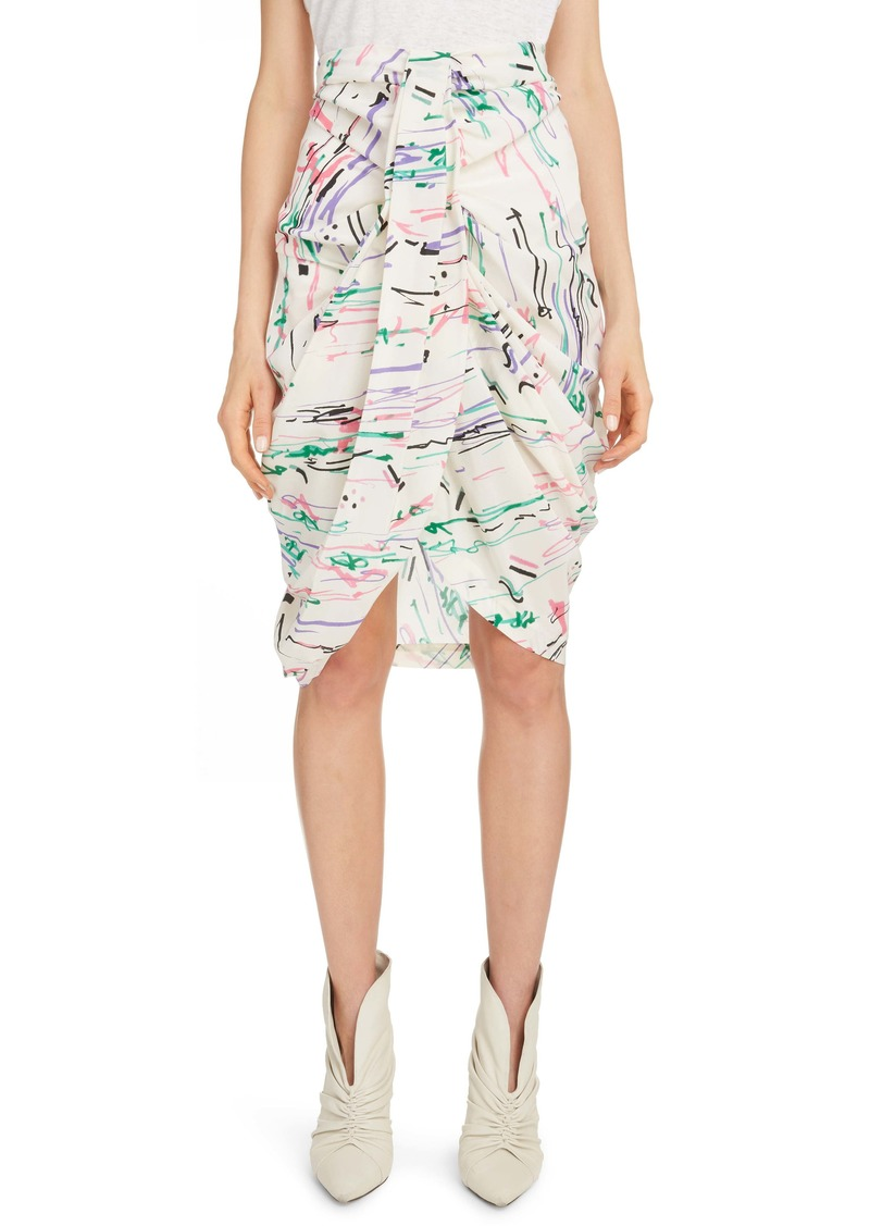 Isabel Marant Scribble Print Stretch Silk Skirt