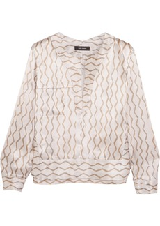 Isabel Marant Simon printed hammered silk-satin blouse