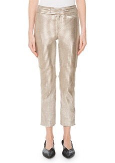 Isabel Marant Straight-Leg Striped Metallic Leather Cropped Pants