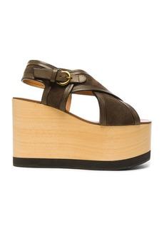 Isabel Marant Suede Zlova Wedge Sandals