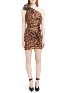 Isabel Marant Synee One Shoulder Metallic Jacquard Dress