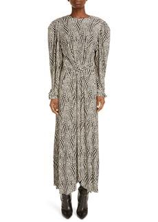 Isabel Marant Telenda Dot Print Long Sleeve Midi Dress