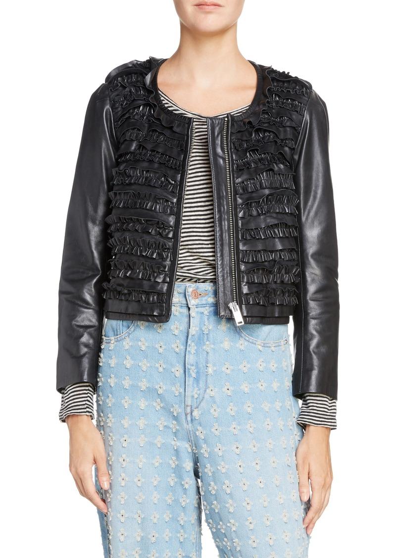 8766b0aed3b Isabel Marant Isabel Marant Étoile Abella Frill Leather Jacket ...