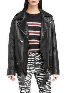 Isabel Marant Étoile Abely Oversize Leather Biker Jacket