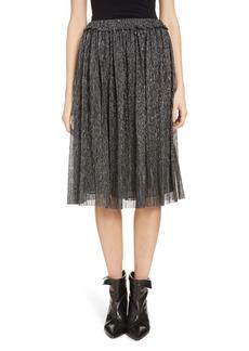 Isabel Marant Étoile Beatrice Pleated Lamé A-Line Skirt