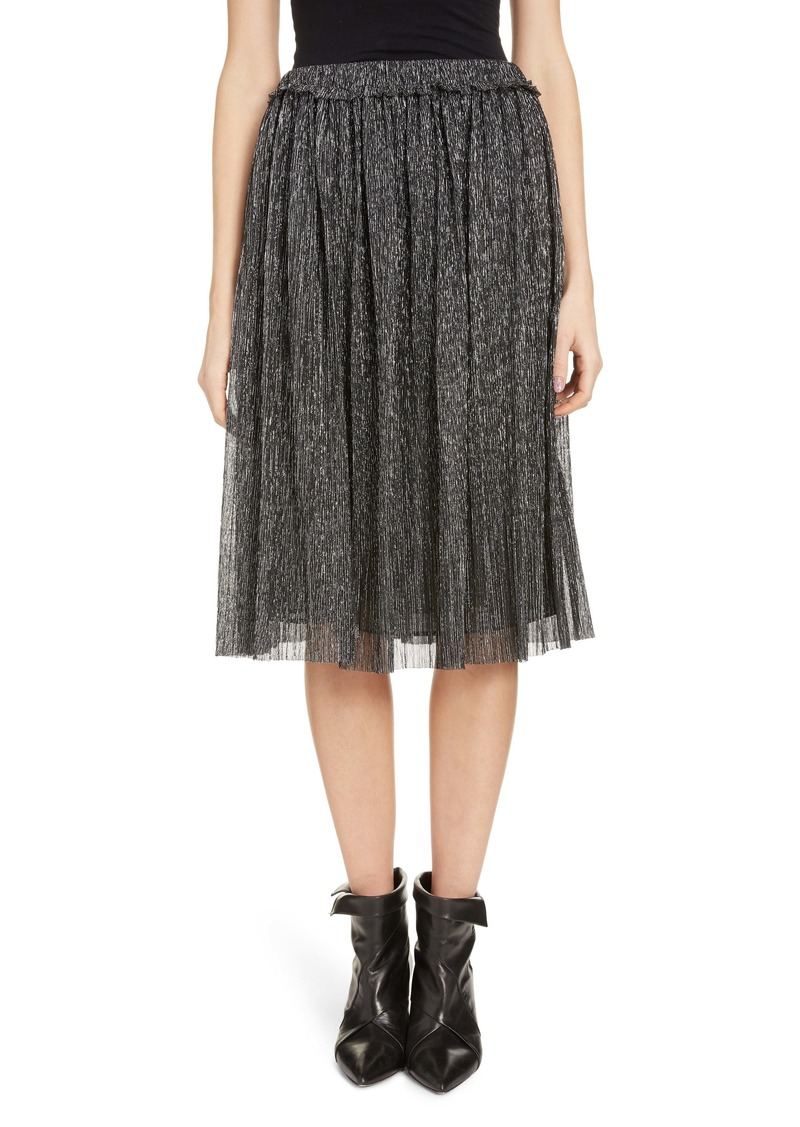 Isabel Marant Étoile Beatrice Pleated Lamé A-Line Skirt