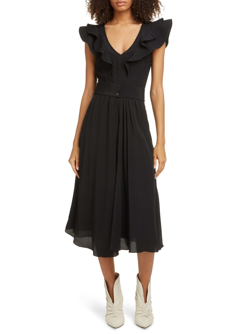 Isabel Marant Étoile Coraline Ruffle Trim Midi Dress
