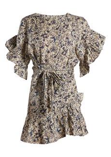 Isabel Marant Étoile Delicia ruffle-trimmed linen wrap dress