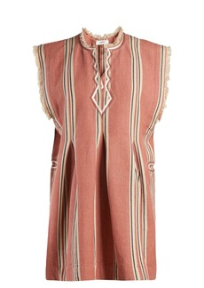 Isabel Marant Étoile Denize striped frayed-edge cotton mini dress