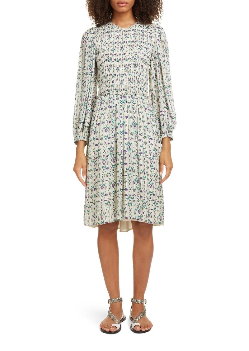 Isabel Marant Étoile Eulie Smocked Bodice Long Sleeve Dress