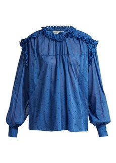 Isabel Marant Étoile Eva ruffled embroidered cotton-voile top
