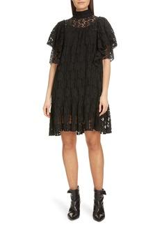 Isabel Marant Étoile Floral Lace Ruffle Shift Dress