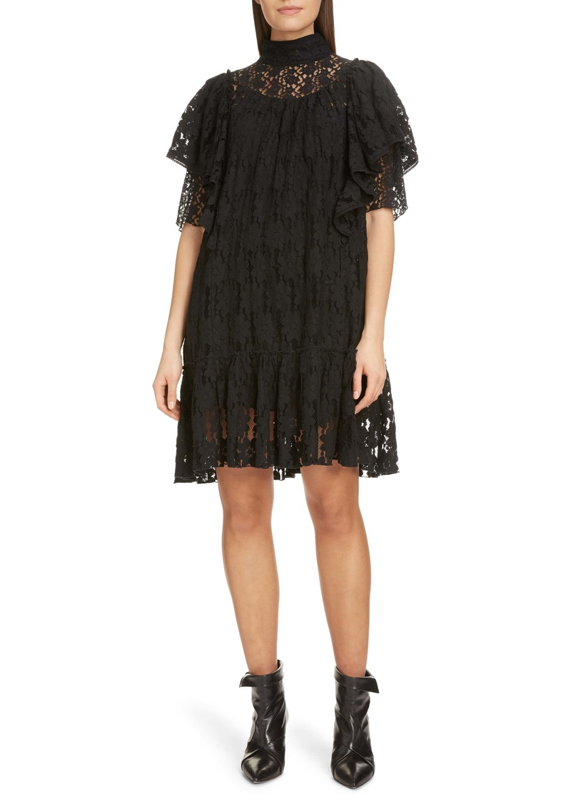 Isabel Marant Étoile Floral Lace Ruffle Shift Dress