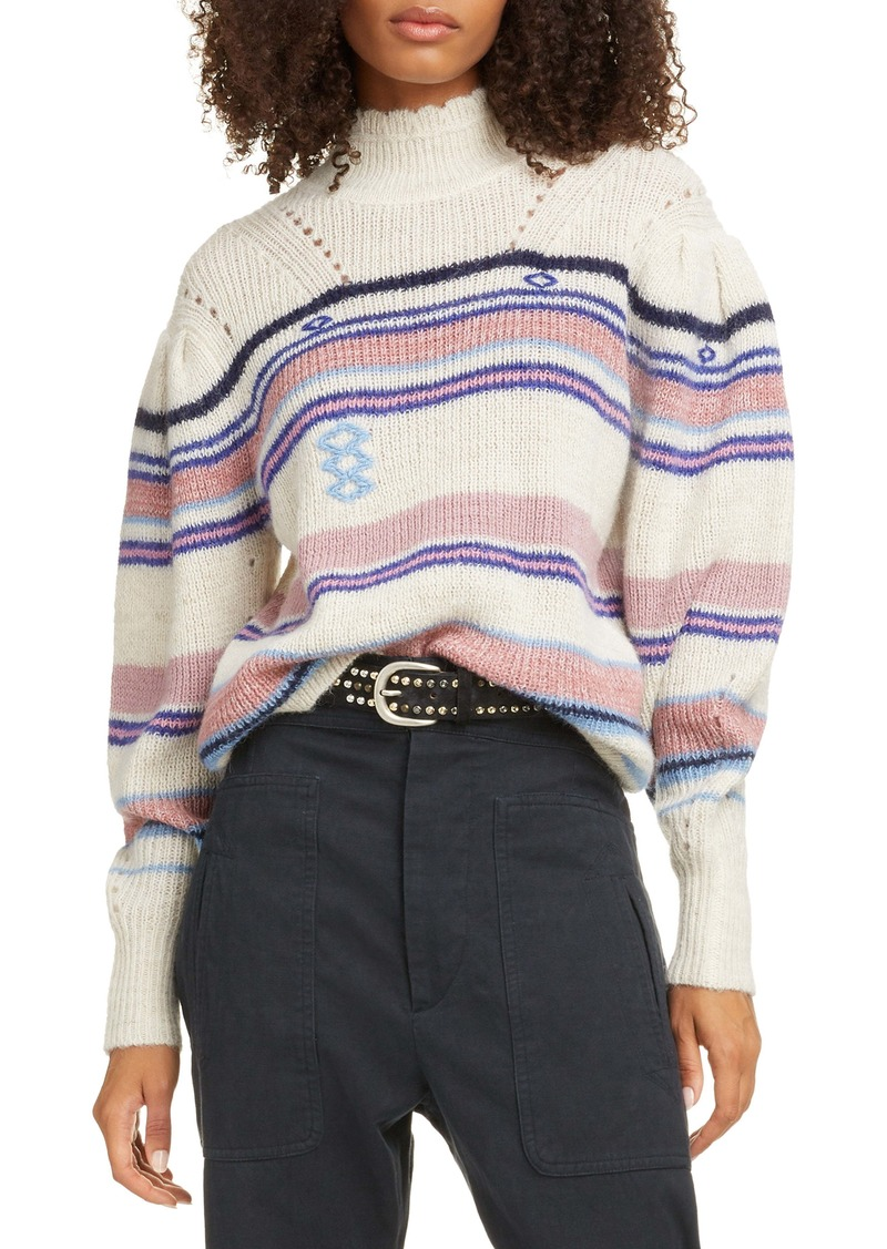 Isabel Marant Étoile Georgie Stripe Balloon Sleeve Sweater