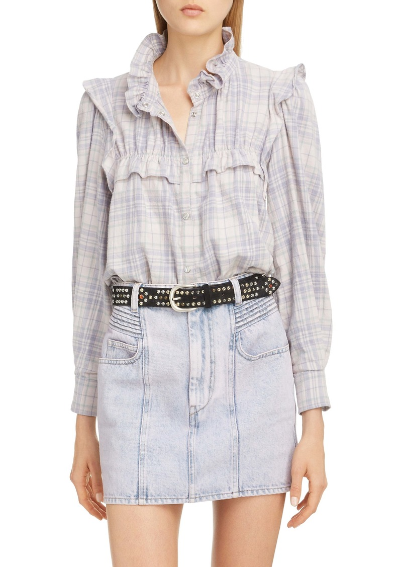 Isabel Marant Étoile Idety Ruffle Trim Plaid Shirt