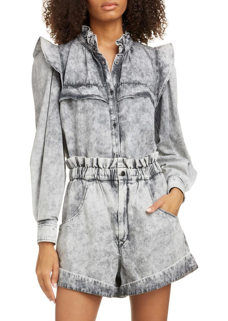 Isabel Marant Étoile Idety Ruffle Trim Stonewashed Shirt